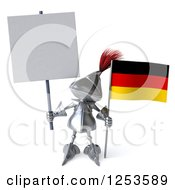 Clipart Of A 3d Medieval Knight Holding A German Flag And Blank Sign Royalty Free Illustration