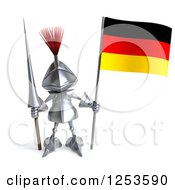 Clipart Of A 3d Medieval Knight Holding A Spear And German Flag Royalty Free Illustration