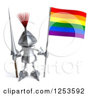 Clipart Of A 3d Medieval Knight With A Spear And Rainbow Flag Royalty Free Illustration