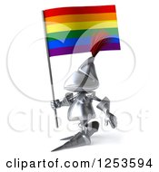 Clipart Of A 3d Medieval Knight Walking With A Rainbow Flag Royalty Free Illustration