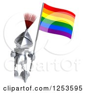 Clipart Of A 3d Medieval Knight Holding A Rainbow Flag Around A Sign Royalty Free Illustration
