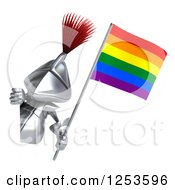 Clipart Of A 3d Medieval Knight Holding A Rainbow Flag Around A Sign 2 Royalty Free Illustration