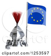 Clipart Of A 3d Medieval Knight Holding A European Flag Over A Sign Royalty Free Illustration