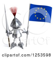 Clipart Of A 3d Medieval Knight With A Spear And A European Flag Royalty Free Illustration