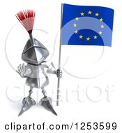 Clipart Of A 3d Medieval Knight Gesturing Stop And Holding A European Flag Royalty Free Illustration
