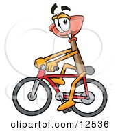 Sink Plunger Mascot Cartoon Character Riding A Bicycle