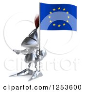 Clipart Of A 3d Medieval Knight Pointing And Holding A European Flag Royalty Free Illustration