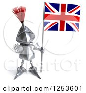 Clipart Of A 3d Medieval Knight Holding Out A Stop Hand And A British Flag Royalty Free Illustration