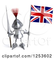 Clipart Of A 3d Medieval Knight With A Spear And A British Flag Royalty Free Illustration