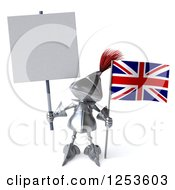 Clipart Of A 3d Medieval Knight With A Blank Sign And A British Flag Royalty Free Illustration