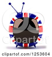 Clipart Of A 3d British Flag Retro Box Tv Royalty Free Illustration
