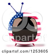Clipart Of A 3d American Flag Retro Box Tv Royalty Free Illustration by Julos