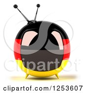 Clipart Of A 3d German Flag Retro Box Tv Royalty Free Illustration