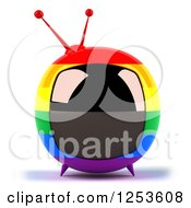 Clipart Of A 3d Rainbow Flag Retro Box Tv Royalty Free Illustration
