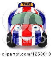 Clipart Of A 3d British Taxi Cab Character Royalty Free Illustration