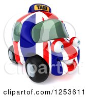 Clipart Of A 3d British Taxi Cab Character 3 Royalty Free Illustration
