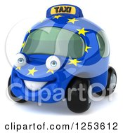Clipart Of A 3d European Taxi Cab Character 2 Royalty Free Illustration by Julos
