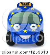 Clipart Of A 3d European Taxi Cab Character Royalty Free Illustration by Julos