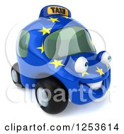 Clipart Of A 3d European Taxi Cab Character 3 Royalty Free Illustration by Julos