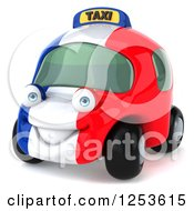 Clipart Of A 3d French Taxi Cab Character 2 Royalty Free Illustration