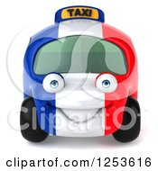 Clipart Of A 3d French Taxi Cab Character Royalty Free Illustration