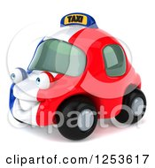Clipart Of A 3d French Taxi Cab Character 3 Royalty Free Illustration by Julos