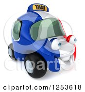 Clipart Of A 3d French Taxi Cab Character 4 Royalty Free Illustration by Julos