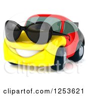 Clipart Of A 3d German Flag Porsche Car Character Wearing Sunglasses Royalty Free Illustration