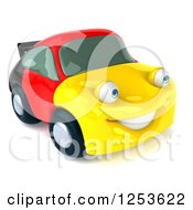 Clipart Of A 3d German Flag Porsche Car Character 4 Royalty Free Illustration