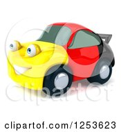 Clipart Of A 3d German Flag Porsche Car Character 3 Royalty Free Illustration
