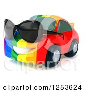 Clipart Of A 3d Rainbow Flag Porsche Car Character Wearing Sunglasses 3 Royalty Free Illustration