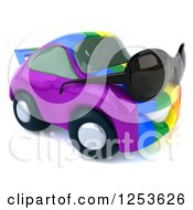 Clipart Of A 3d Rainbow Flag Porsche Car Character Wearing Sunglasses 2 Royalty Free Illustration
