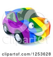 Clipart Of A 3d Rainbow Flag Porsche Car Character 2 Royalty Free Illustration
