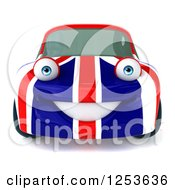 Clipart Of A 3d British Flag Porsche Car Character Royalty Free Illustration