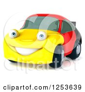 Clipart Of A 3d German Flag Porsche Car Character Royalty Free Illustration
