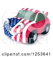 Clipart Of A 3d American Flag Porsche Car Character 3 Royalty Free Illustration