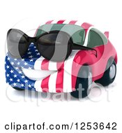 Clipart Of A 3d American Flag Porsche Car Character Wearing Sunglasses Royalty Free Illustration