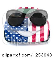 Clipart Of A 3d American Flag Porsche Car Character Wearing Sunglasses 2 Royalty Free Illustration by Julos
