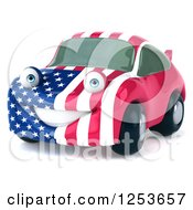 Clipart Of A 3d American Flag Porsche Car Character Royalty Free Illustration