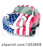Clipart Of A 3d American Flag Porsche Car Character 2 Royalty Free Illustration