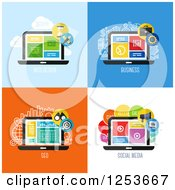 Clipart Of Laptop Seo Business And Web Design Icons Royalty Free Vector Illustration by elena