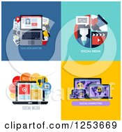 Clipart Of Laptop Social Media Marketing Icons Royalty Free Vector Illustration by elena
