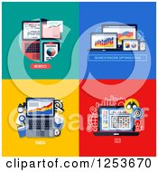Clipart Of Laptop SEO Designs Royalty Free Vector Illustration by elena