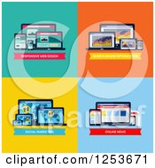 Clipart Of Web Design SEO Social Media Marketing And Online News Designs Royalty Free Vector Illustration by elena