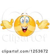 Clipart Of A Happy Yellow Emoticon Smiley Reaching Out For A Hug Royalty Free Vector Illustration