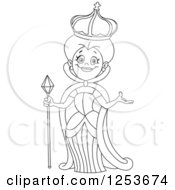 Clipart Of A Black And White Line Art Design Of A Welcoming Queen Royalty Free Vector Illustration