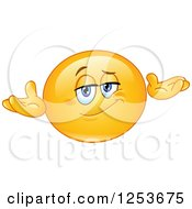 Clipart Of A Yellow Emoticon Smiley Shrugging Royalty Free Vector Illustration