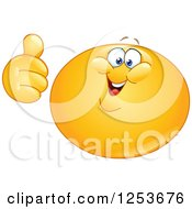 Clipart Of A Happy Yellow Emoticon Smiley Holding A Thumb Up Royalty Free Vector Illustration