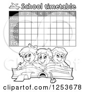 Grayscale Weekly School Timetable With Reading Students