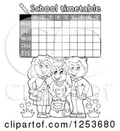 Grayscale Weekly School Timetable With Students